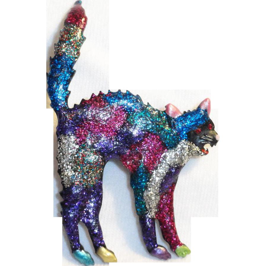 JJ Glitter Enamel Scaredy Cat Brooch