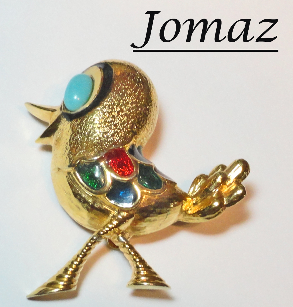 Jomaz Enameled Strutting Bird Brooch
