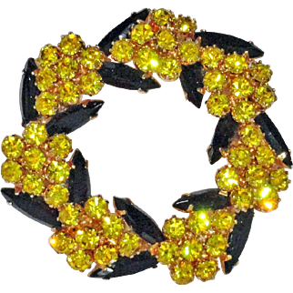 Juliana Golden Yellow  Chaton with Black Navette Rhinestones Circle Wreath Brooch