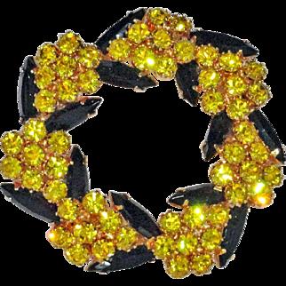Juliana Golden Yellow  Chaton with Black Navette Rhinestones Circle Wreath Brooch