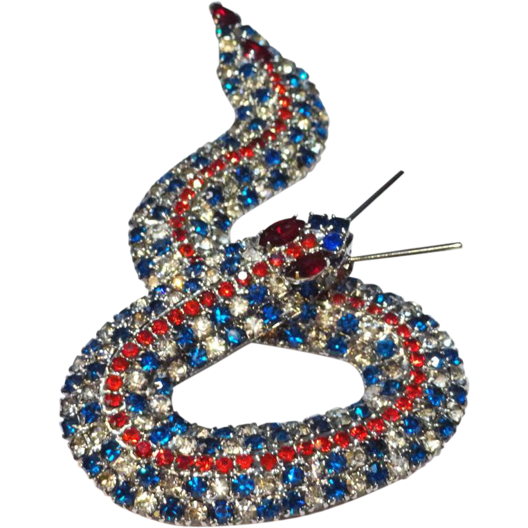 Kenneth J Lane Red White and Blue Rhinestone Snake Brooch   HUGE
