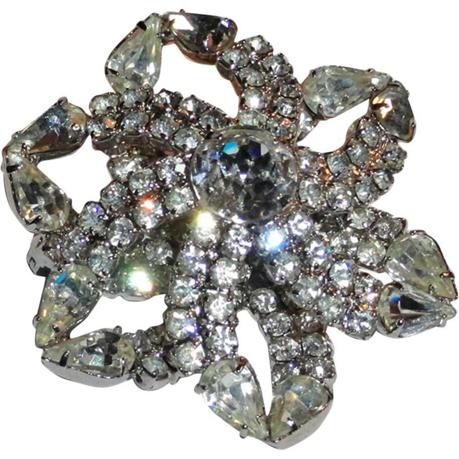 Kramer Clear Crystal Rhinestone Open Flower Brooch  ITEM PRICE: