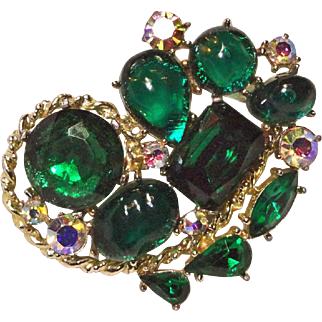 Large Green Rhinestones Lucite Cabochon AB Brooch