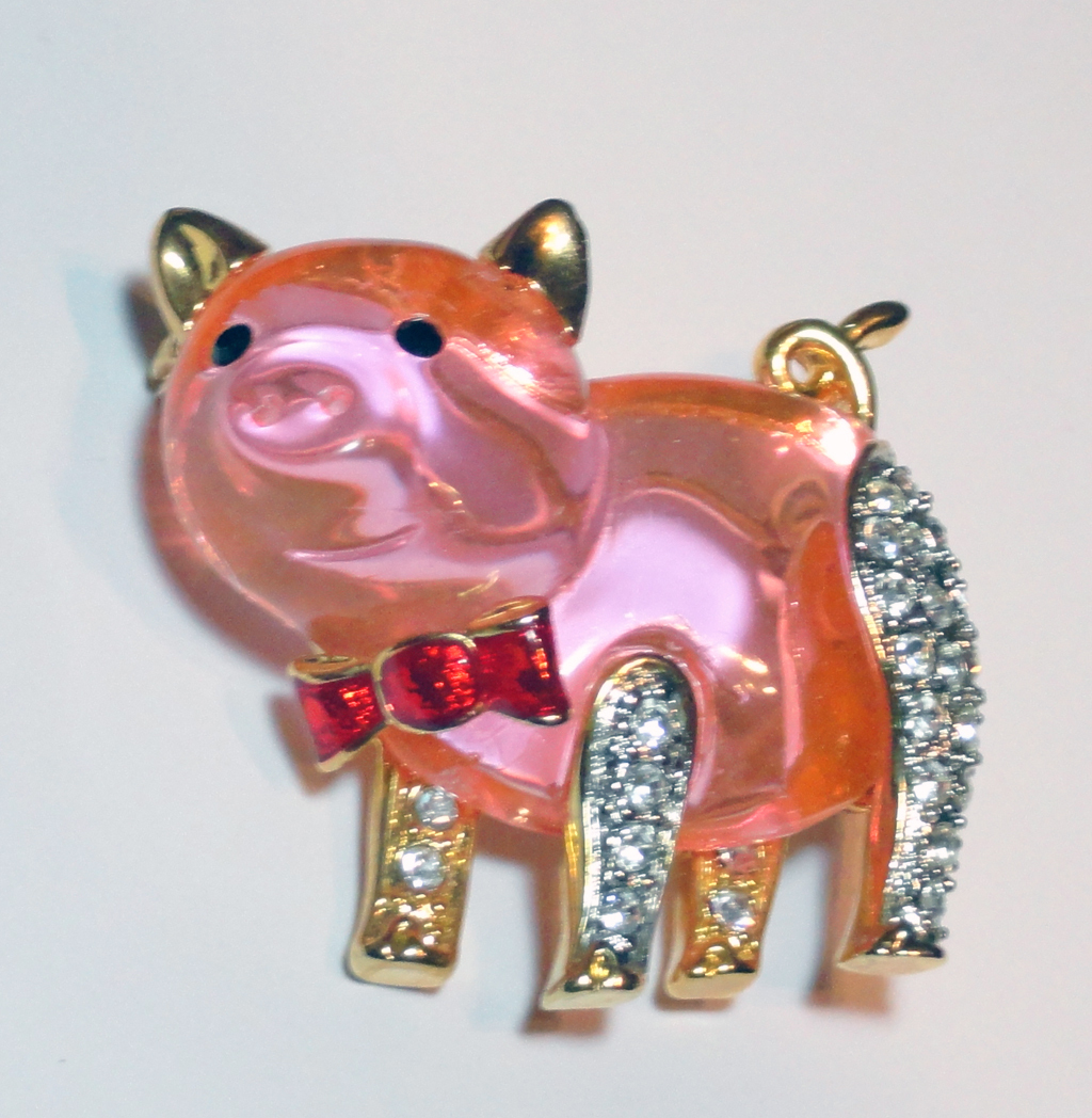 Pink Lucite Jelly Belly Rhinestone Pig with Bow Tie Brooch