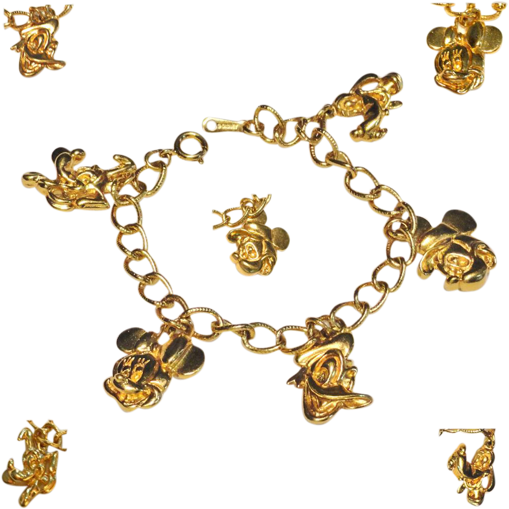 Disney Mickey Mouse Charm Bracelet Gold Tone