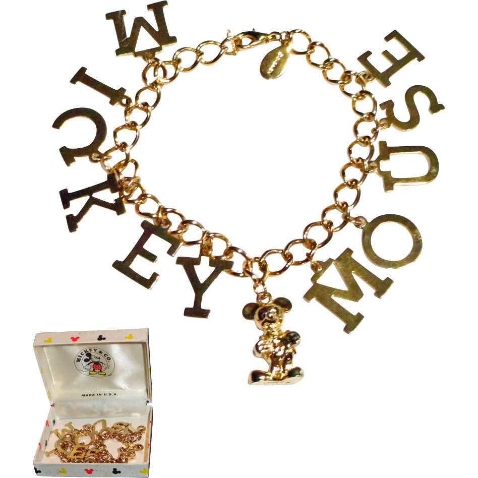Disney Mickey Mouse Gold Plated Charm Bracelet in Original Box