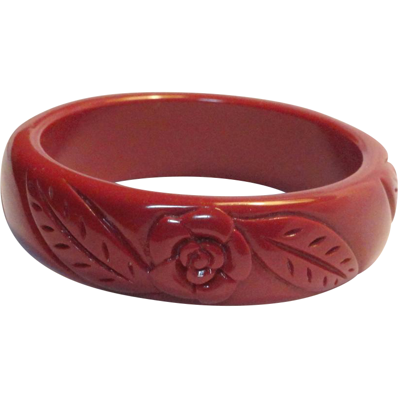 Molded Plastic Pink Mauve Flower Bangle Bracelet
