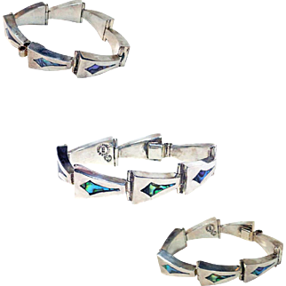 A Munoz Taxco Mexico Sterling Silver Abalone Bracelet
