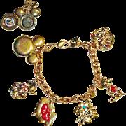 Napier Disney Mickey and Minnie Mouse Sweetheart Charm Locket Bracelet