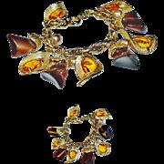 Napier Retro Chunky Lucite Rhinestone Charm Bracelet
