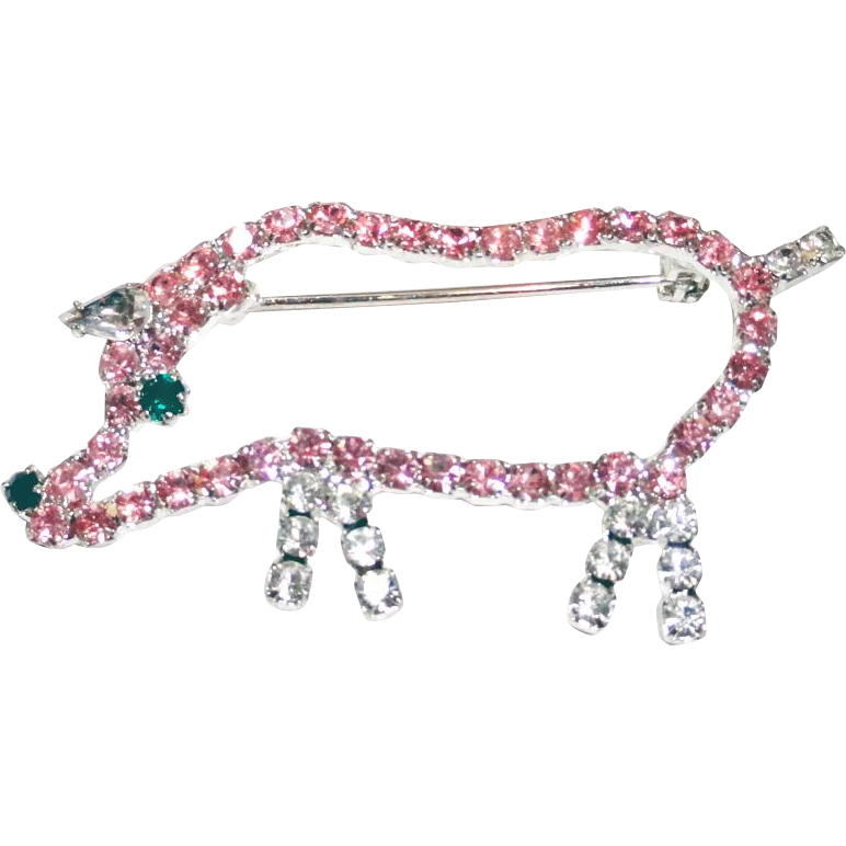 Pink and Clear Rhinestone Silhouette Outline Pig Brooch