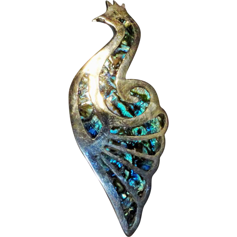 Sterling Peacock Abalone Paua Shell Brooch   Mexico