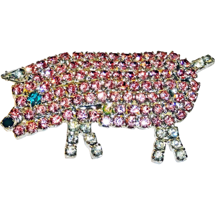 Pink and Clear Rhinestone Pig Brooch