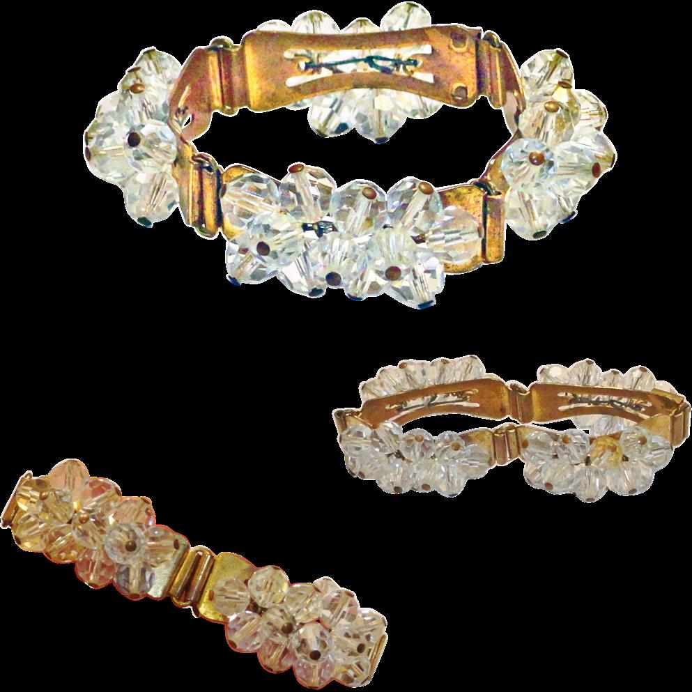 Clear Crystal Bead Gold Tone Panel Cha Cha Bracelet