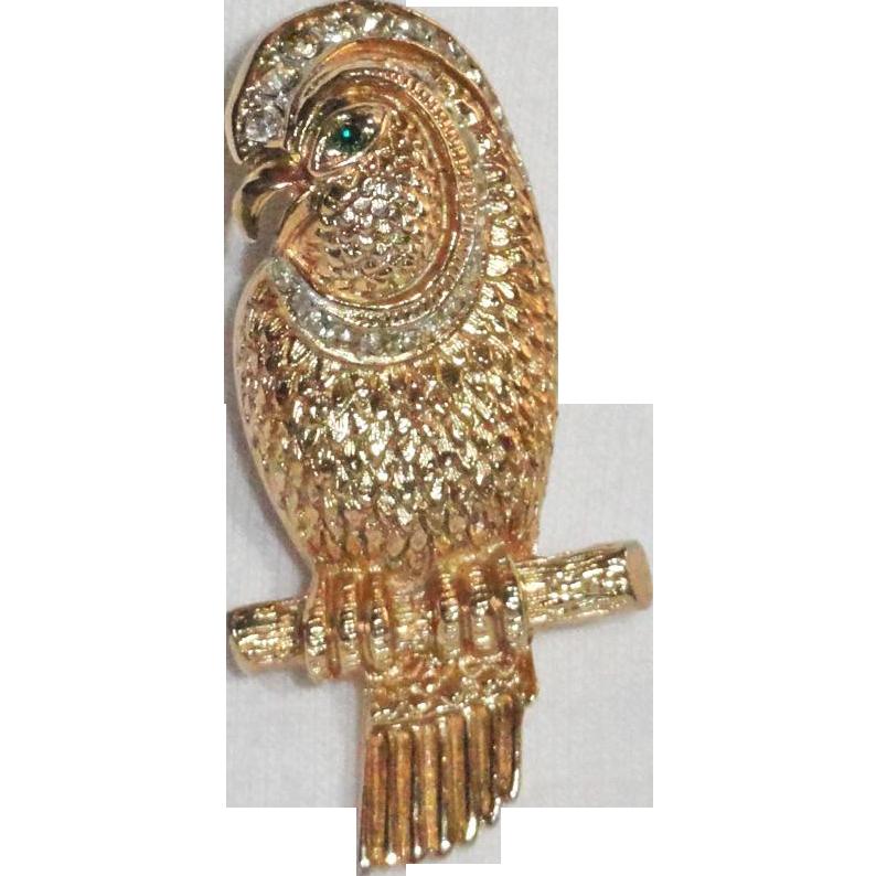 Rhinestone Lovebird Brooch Gold Plated
