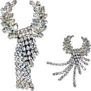 Large Crystal Clear Rhinestone Tiered Waterfall Dangle Brooch