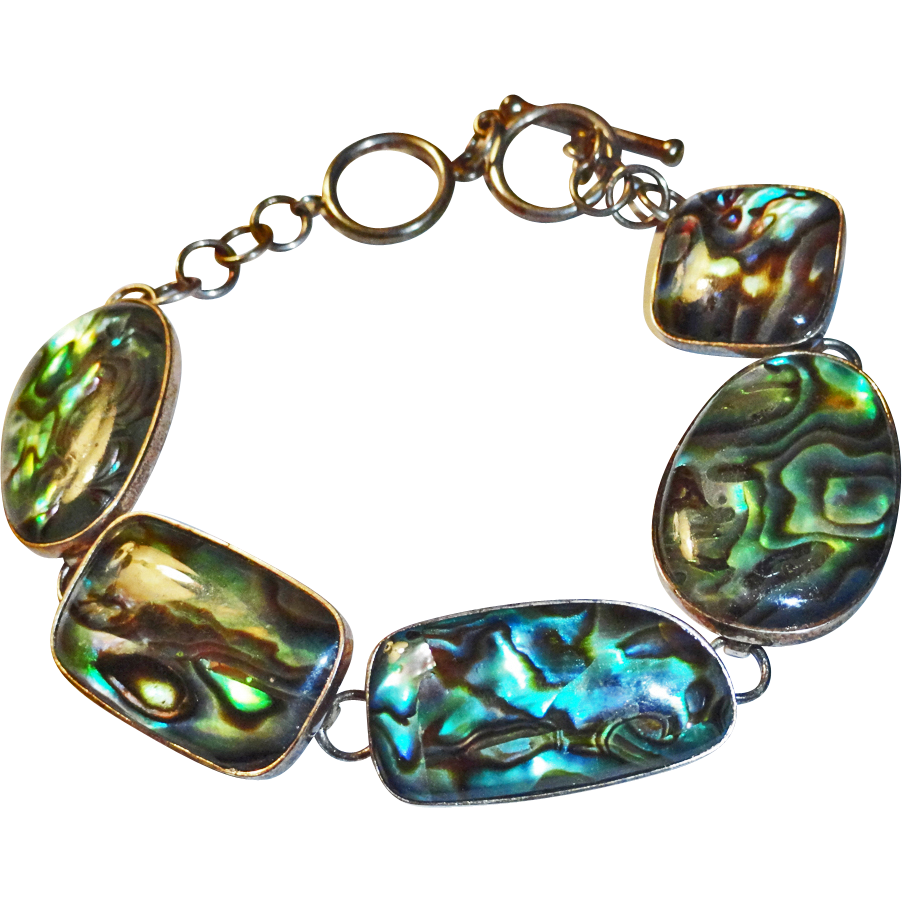 Sterling Silver Abalone Shell Bracelet Toggle Closure