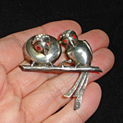 Sterling Silver Two Rhinestone Birds on Branch Brooch