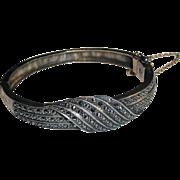 Art Deco Sterling Silver Marcasite Hinged Bangle Bracelet
