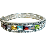 Sterling Silver Genuine Gemstone Hinged Bangle Bracelet Filigree
