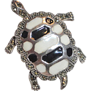 Sterling Silver Turtle Brooch Marcasite and Enamel Fully Articulated