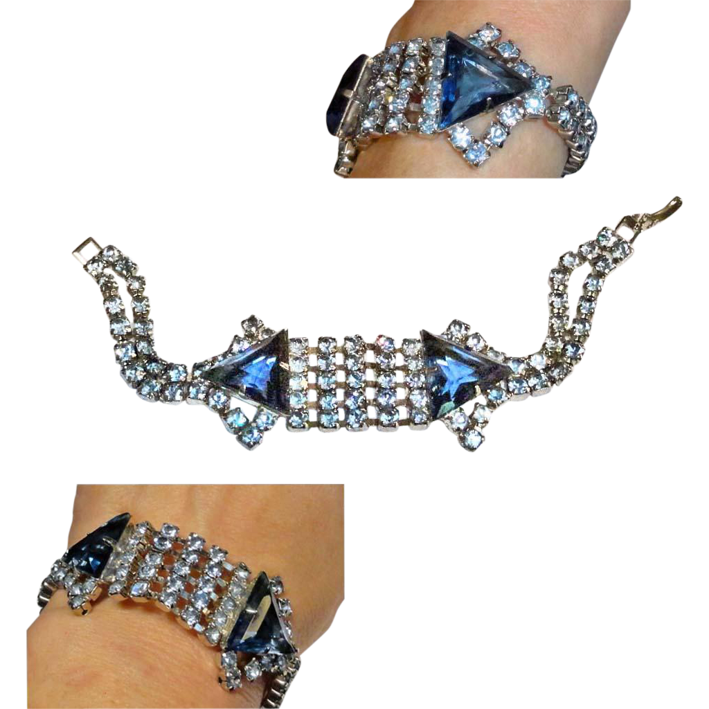 Sapphire Blue Triangles & Light Blue Rhinestones Bracelet