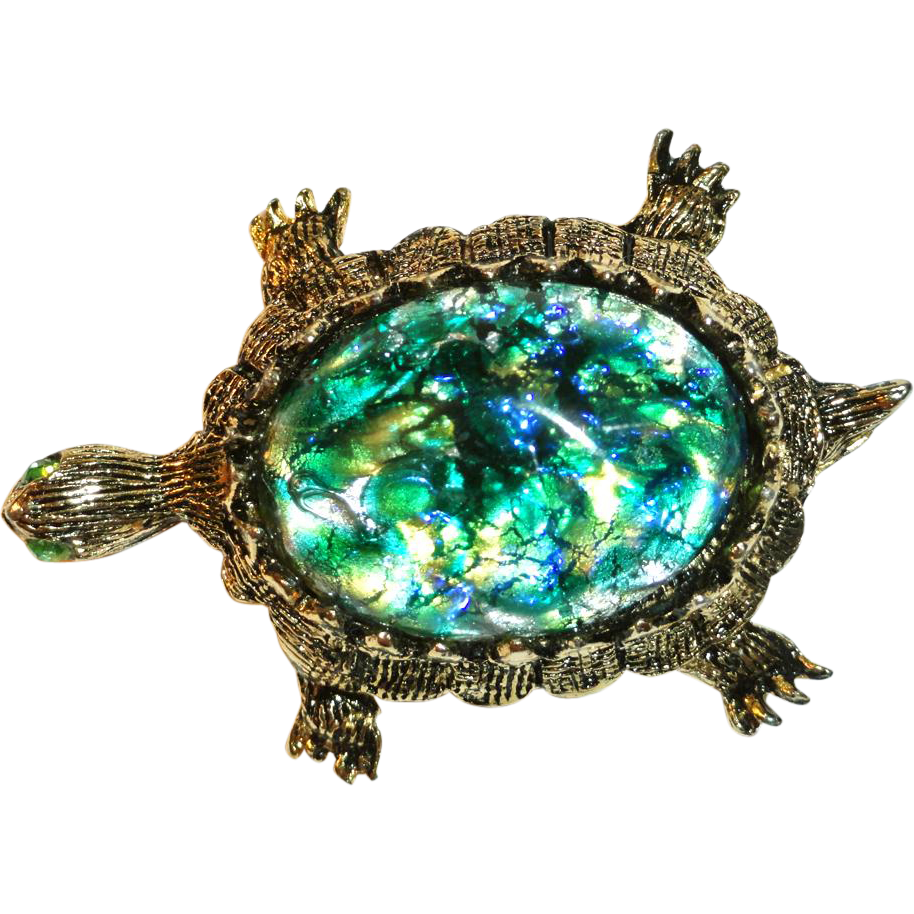 Dodd's 11 W 30 ST Inc  Art Glass Rhinestone Turtle Brooch