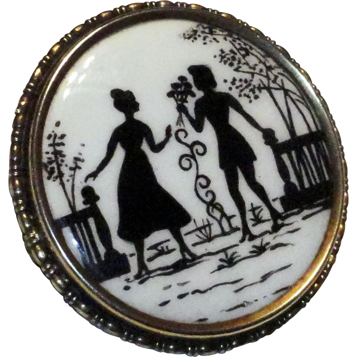 "Victorian Reverse Painted Silhouette Brooch Old ""C"" Clasp  1800's"