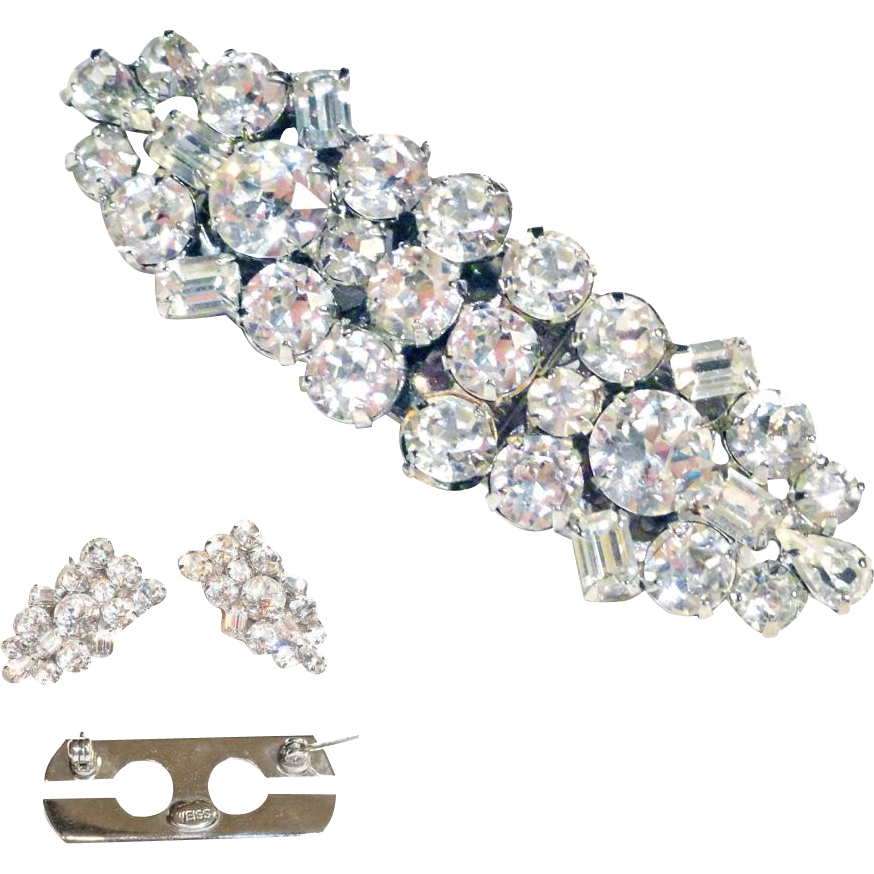 Weiss Clear Rhinestone Duette Dress Clip  Signed  c 1950