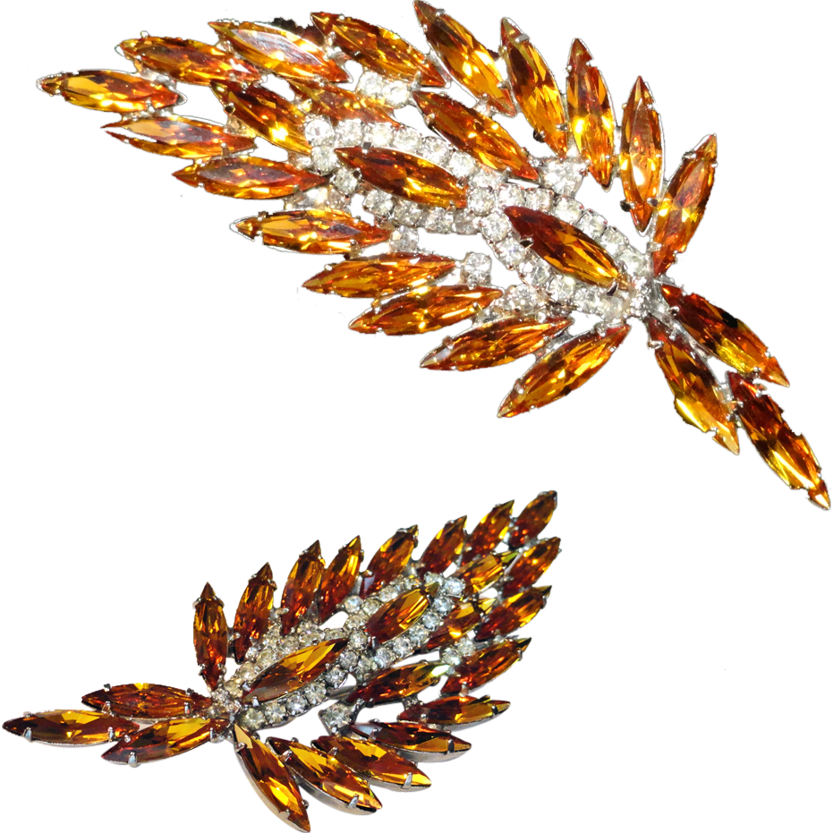 Large Weiss Topaz Clear Rhinestone Leaf Brooch Signed  More than 3""