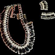 Kramer Black Ice Rhinestone Necklace Earrings Set Signed