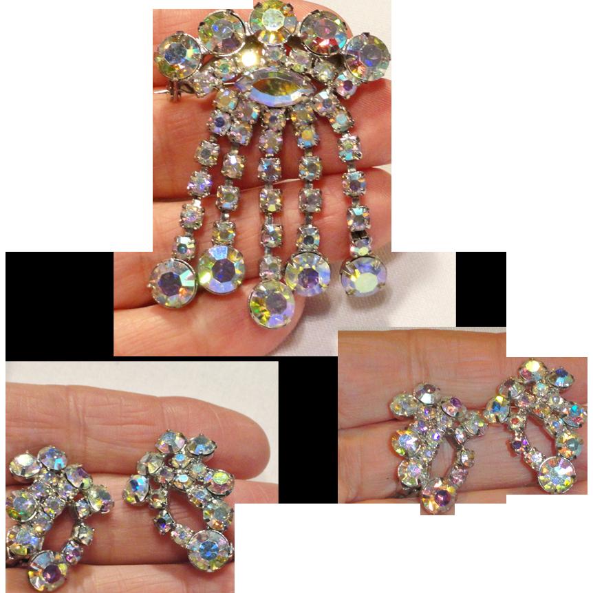 Rainbow Aurora Borealis Dangle Brooch and Earrings