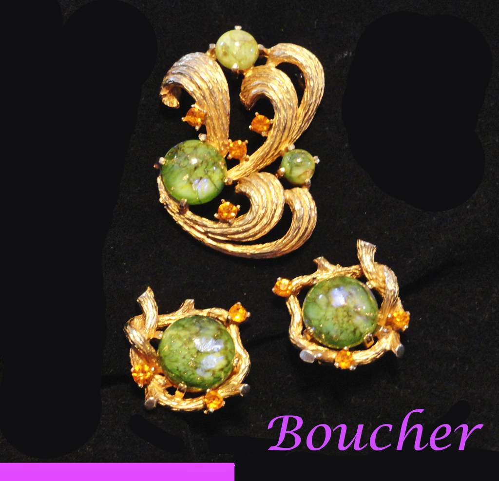 Boucher Dragons Breath Cabochon Rhinestone Brooch and Earrings Set Signed