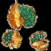 BSK Green Rhinestone Open Work Pierced Leaf Brooch Earrings Set