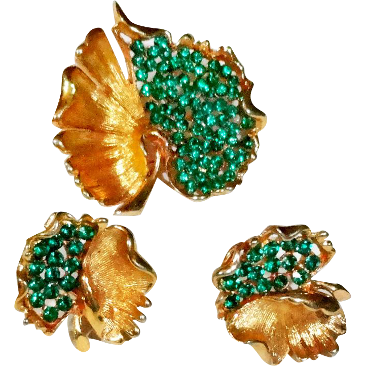 BSK Green Rhinestone Open Work Pierced Leaf Brooch Earrings Set
