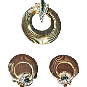 Boucher Green Baguette Clear Rhinestone Brooch Gold Plated Earrings Set
