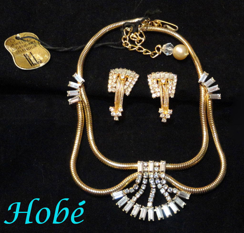 Hobe Rhinestone Center Drape Necklace Earrings Set  Orig Tag and Signed