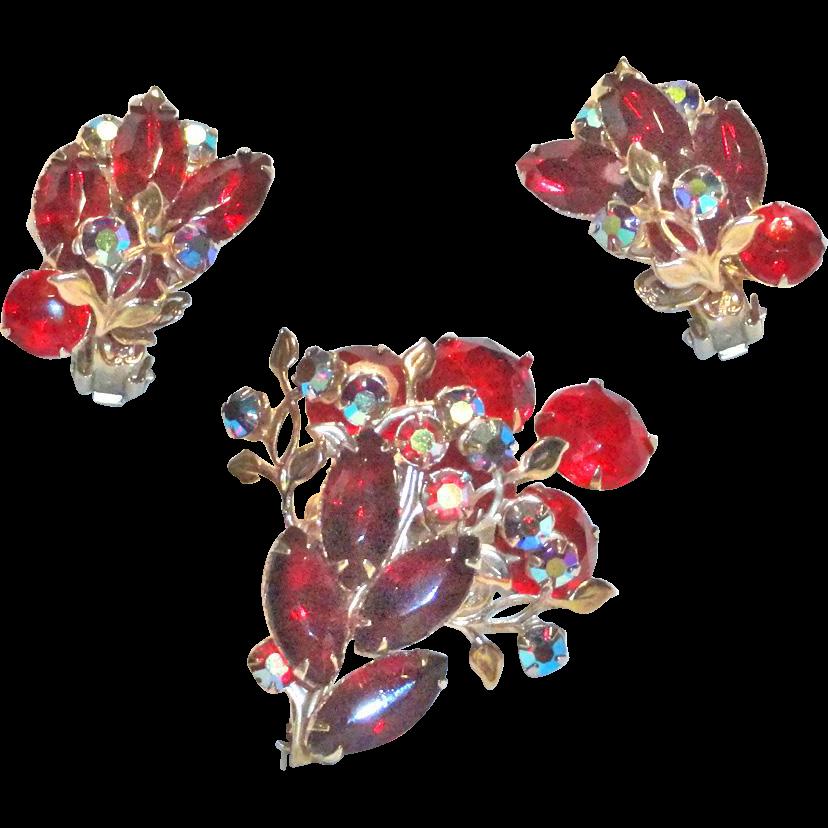 Red Aurora Borealis Rhinestone Brooch Earrings  Unsigned Judy Lee