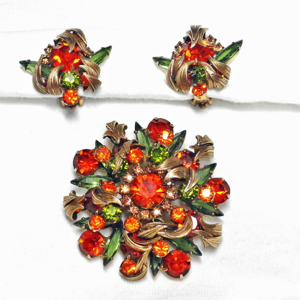 Juliana Venus Flame Rhinestone Brooch Earrings Set Demi Parure