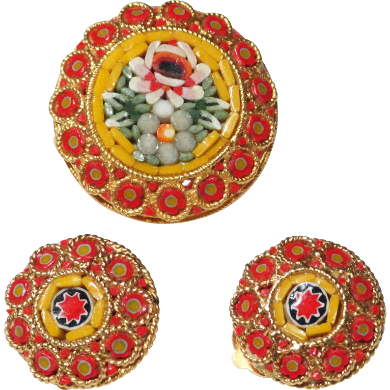 Micro Mosaic Art Glass Round Floral Brooch Earrings Demi