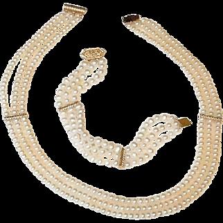 14K Gold Cultured Pearl Necklace Bracelet Set