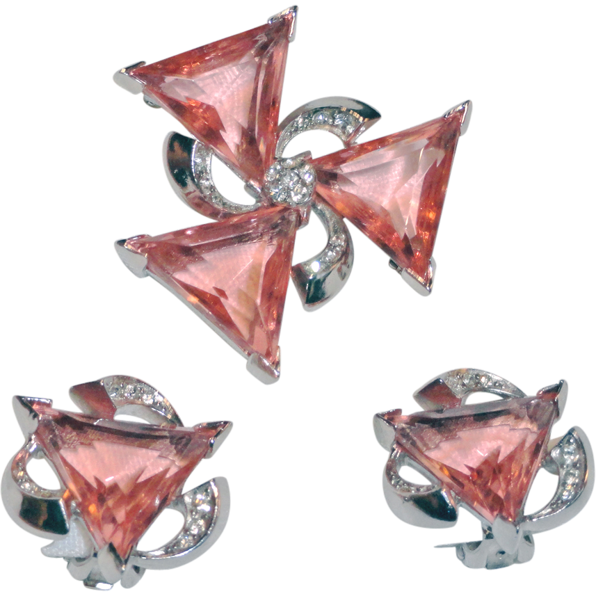 Pink Triangle Clear Rhinestone Brooch and Clip On Earrings
