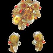 Juliana Delizza & Elster Pillowcase Brooch Earrings Demi Parure