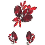 Shades of Red Very Large Oval with Navette & Chaton Rhinestones Brooch Earrings Demi Parure