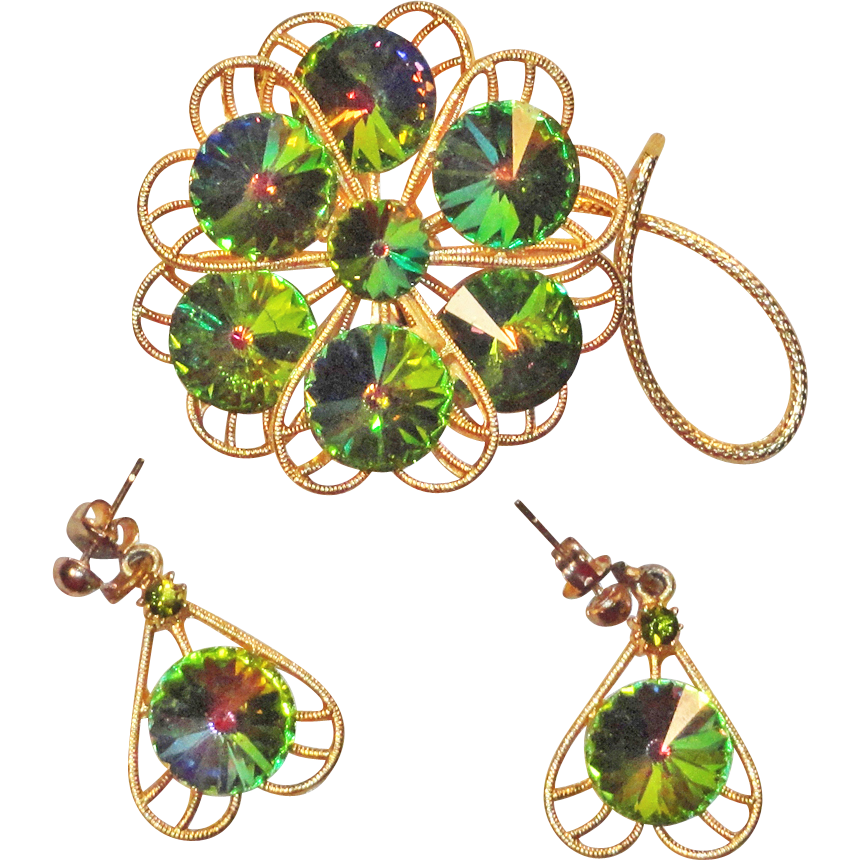 Watermelon Rivoli Rhinestone Flower or Shamrock  Brooch and Earrings  Heart Shaped Petals