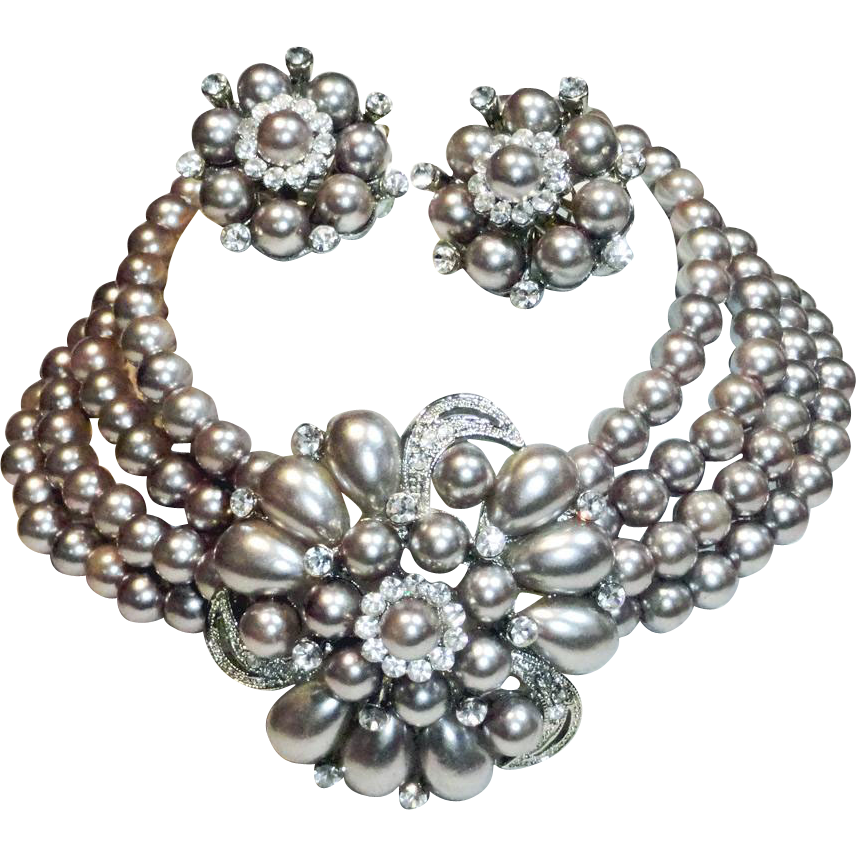 Silver Gray Faux Pearl Rhinestone Choker Necklace and Earrings Set