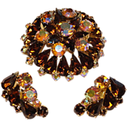 Juliana Smoke Topaz Aurora Borealis Rhinestone Brooch and Earrings