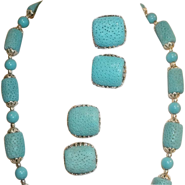 Blue Tridacna Shell Necklace Earrings Set  Japan