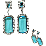 Long Dangle Aqua Blue and Clear Ice Rhinestone Clip Earrings  HUGE