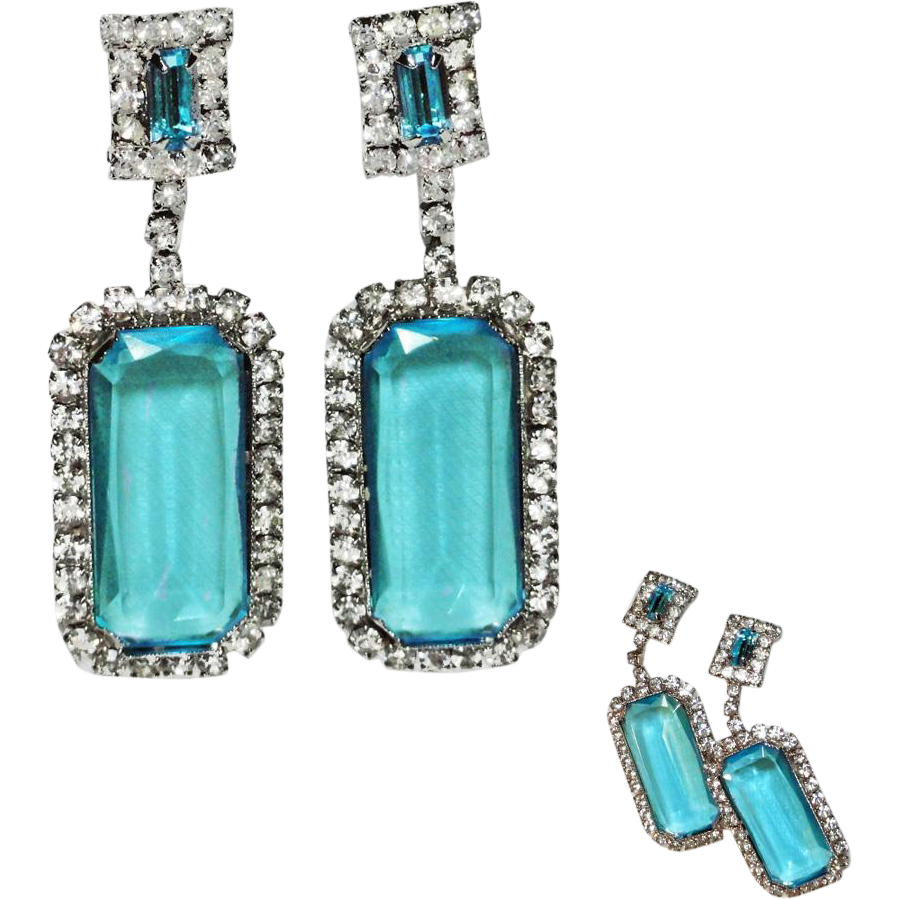 Long Dangle Aqua Blue and Clear Ice Rhinestone Clip Earrings  HUGE